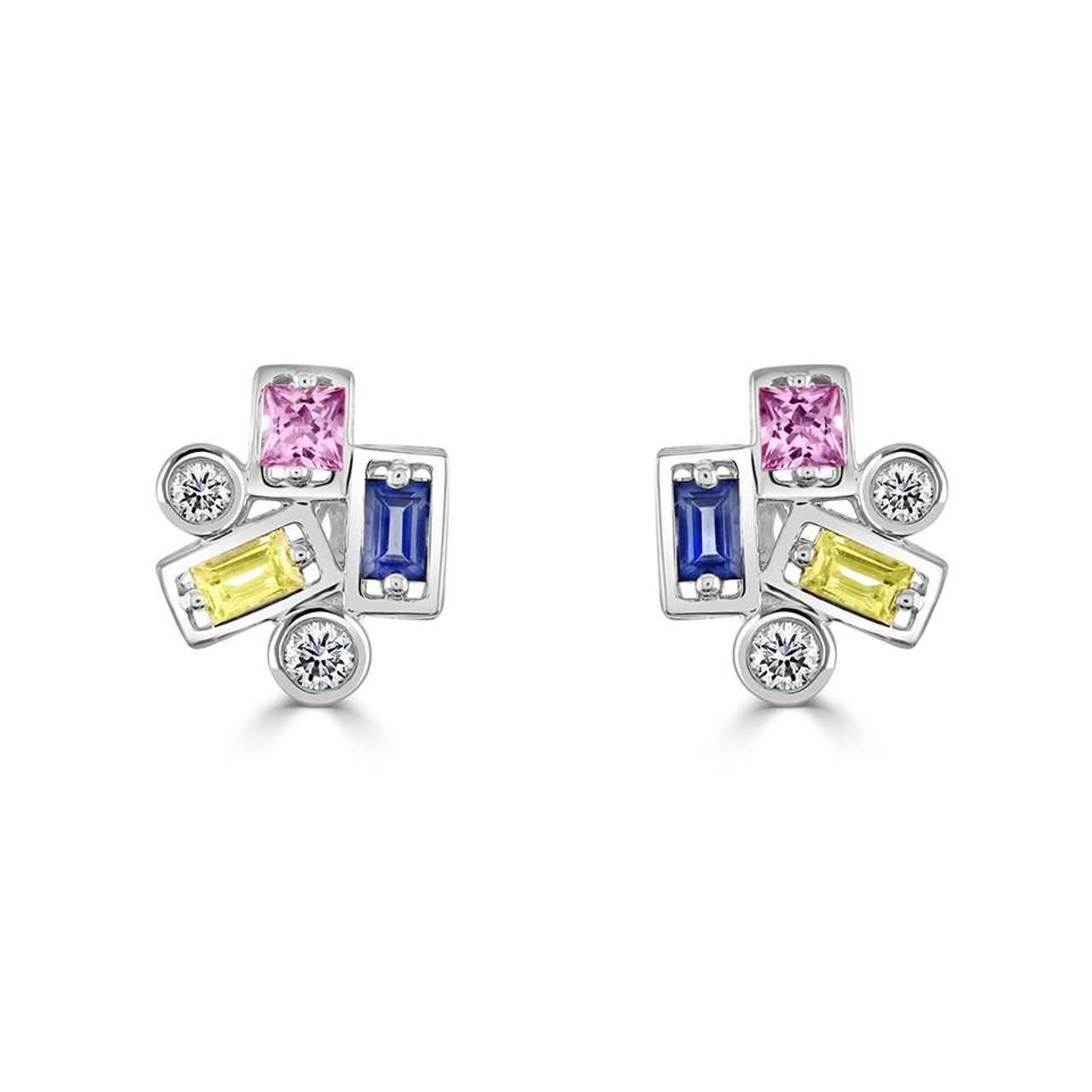 18ct White Gold Diamond & Sapphire Confetti Stud Earrings