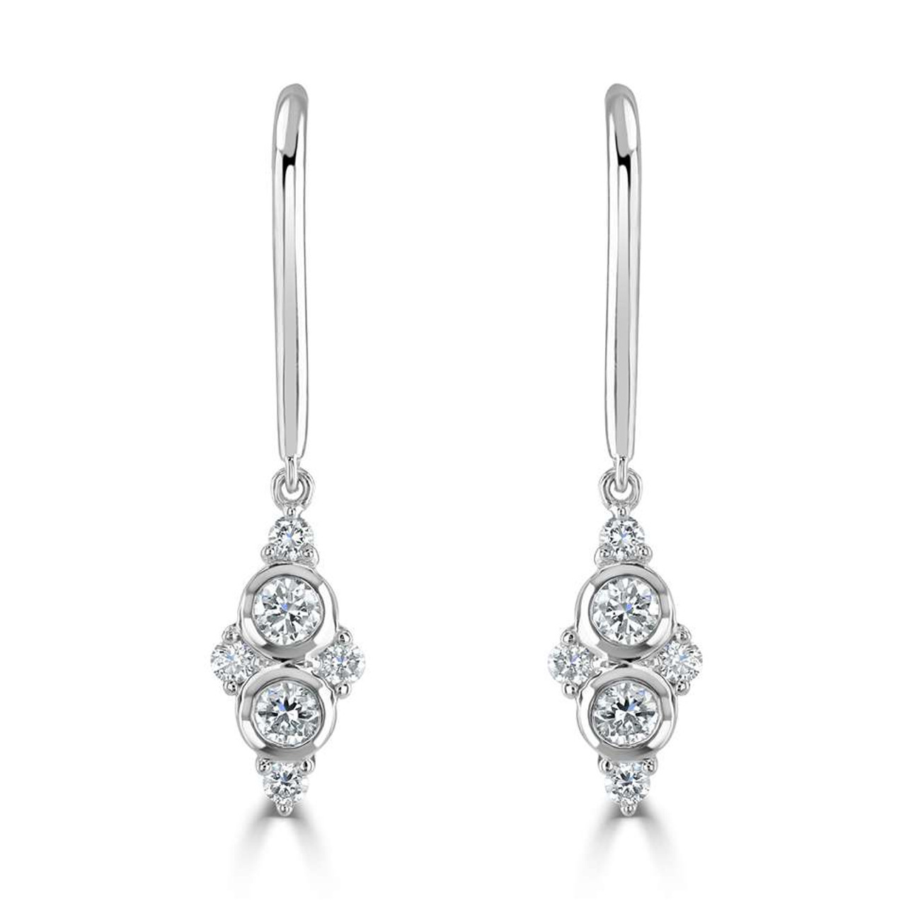 18ct White Gold Diamond Bouquet Hook Earrings