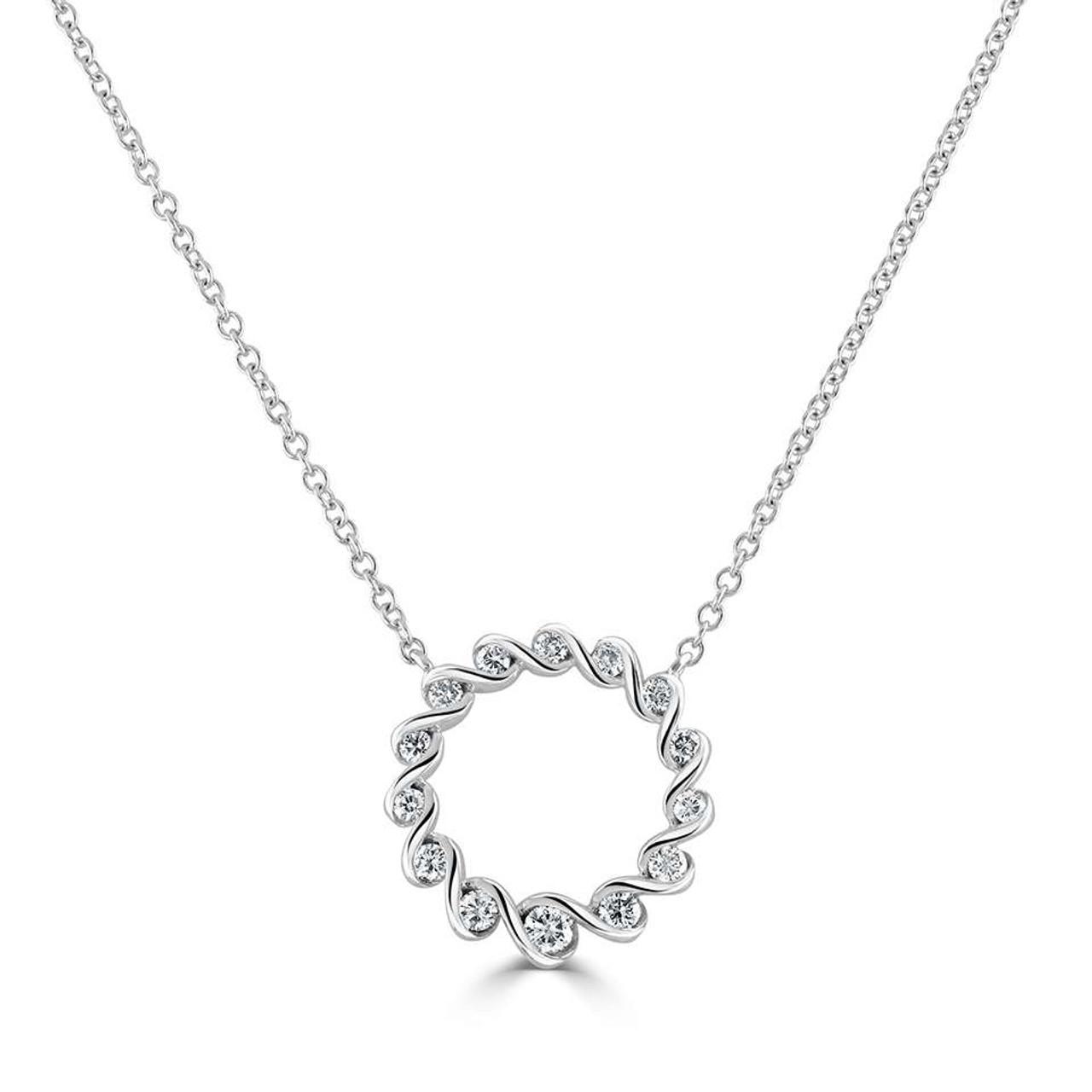18ct White Gold Diamond Ribbon Necklace