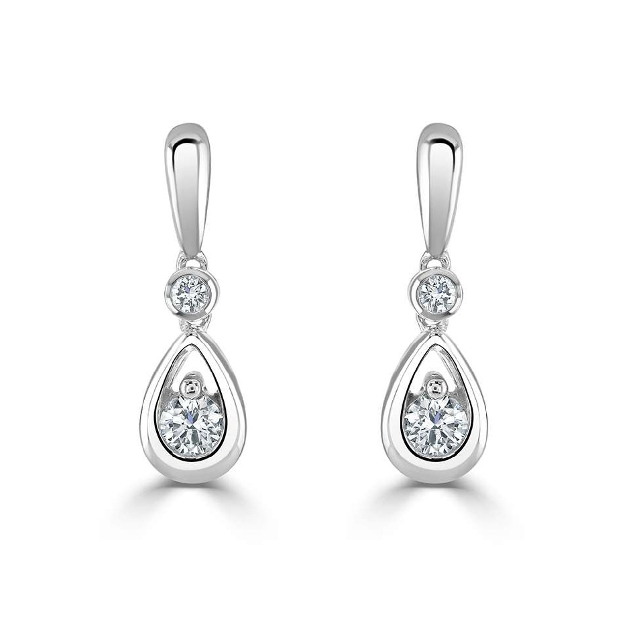 18ct White Gold Diamond Droplet Drop Earrings