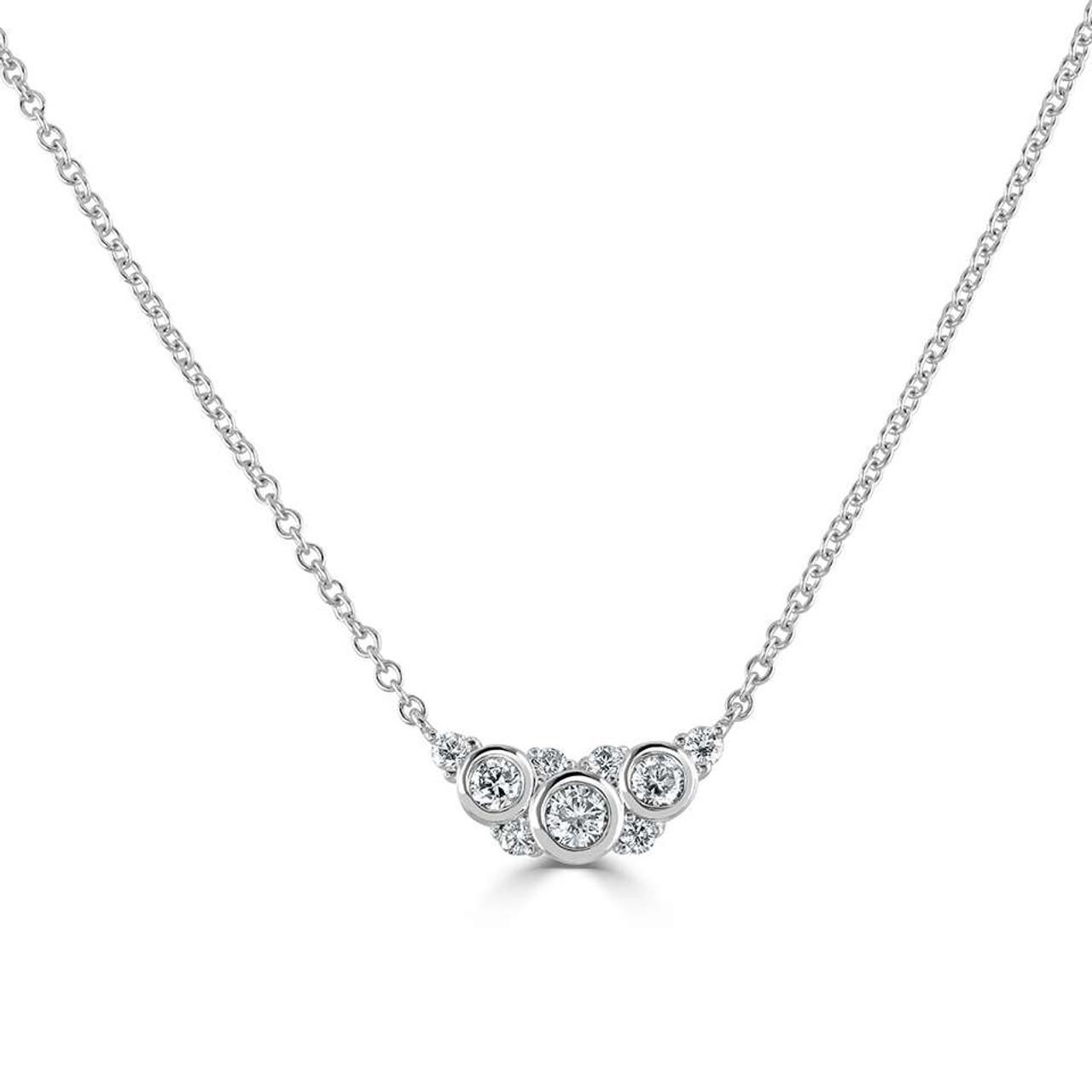 18ct White Gold Diamond Bouquet Necklace