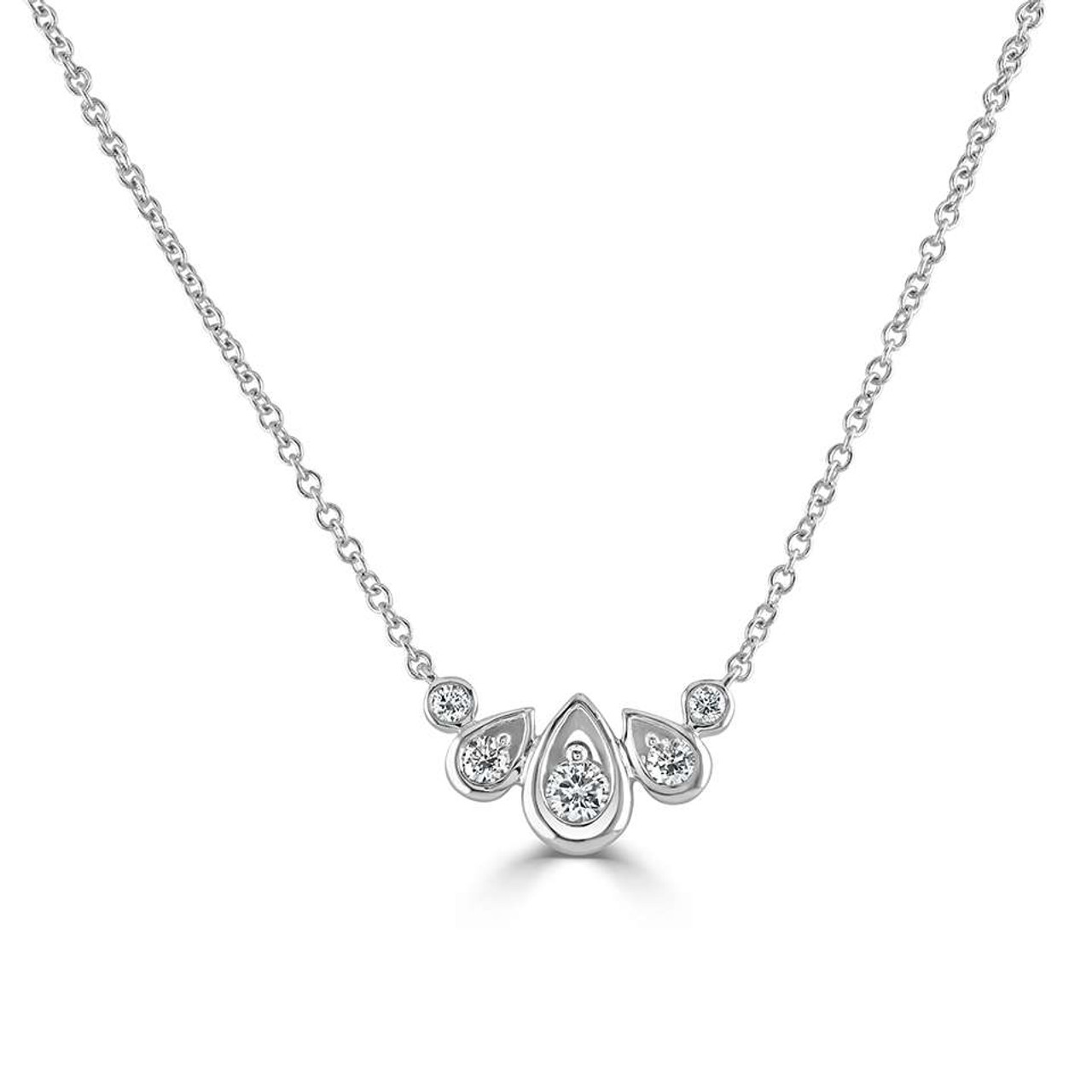 18ct White Gold Diamond Droplet Necklace