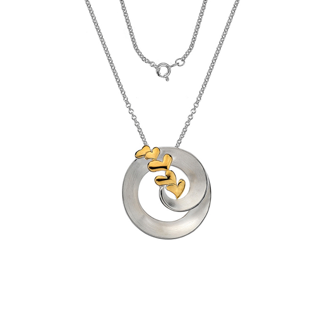 Silver & Gold plated Circle & Heart Pendant on Chain