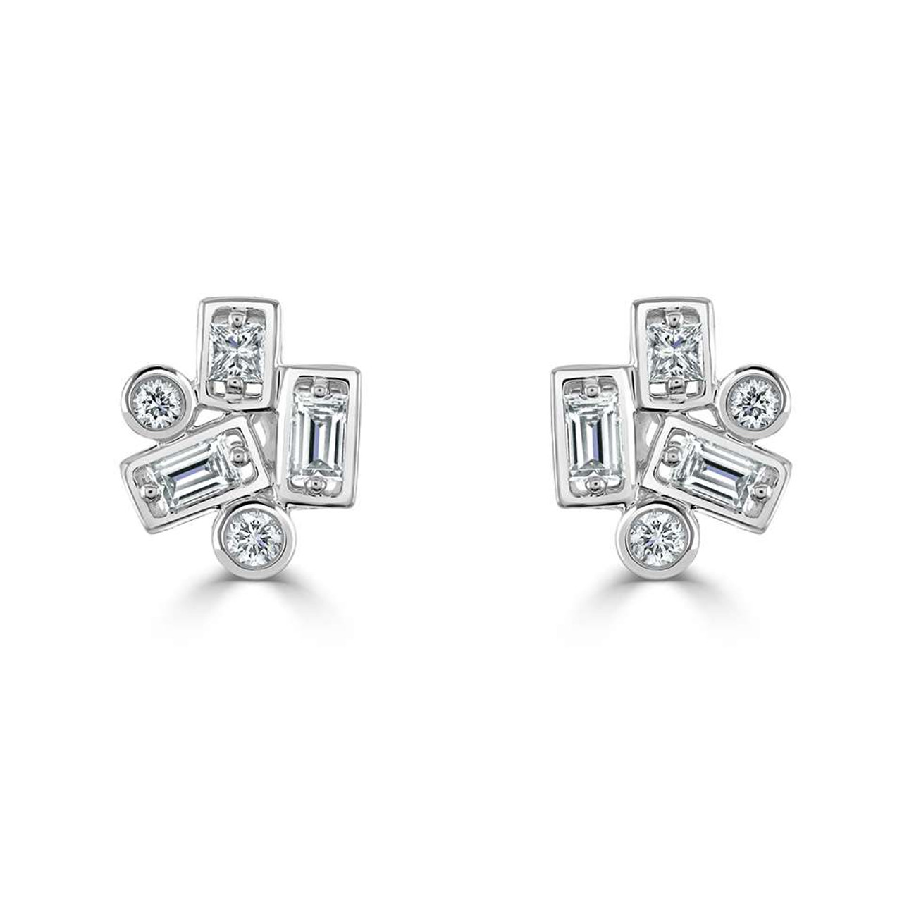 18ct White Gold Diamond Confetti Stud Earrings
