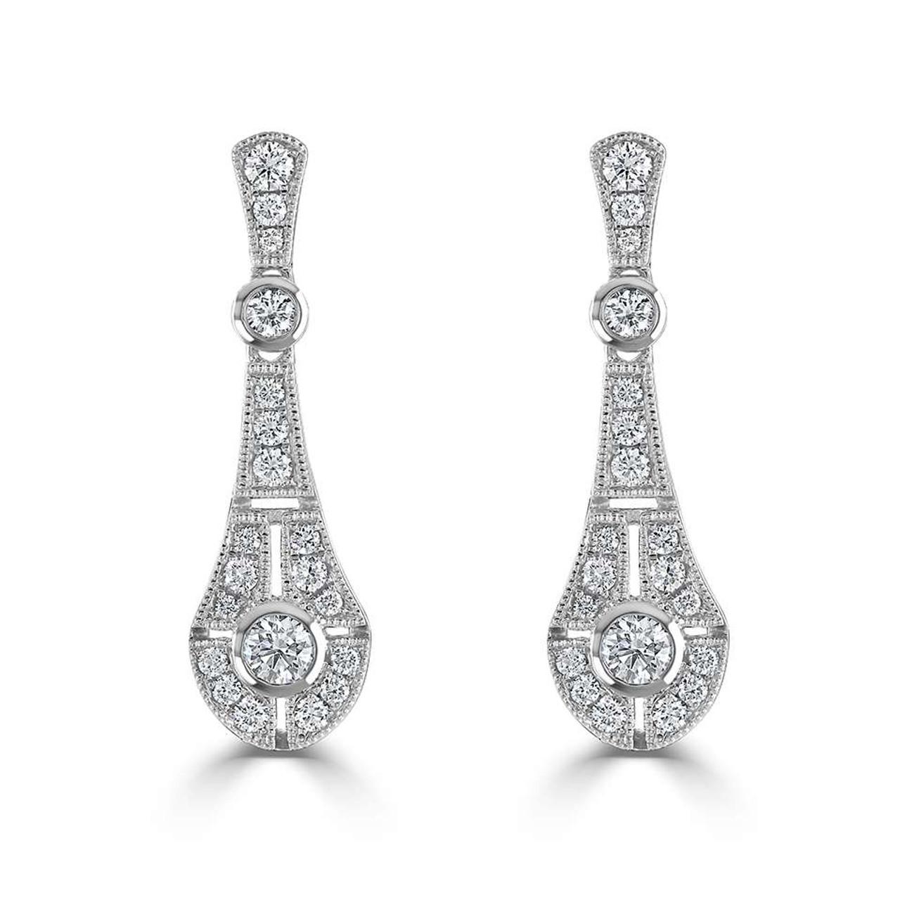 18ct White Gold Diamond Heirloom Drop Earrings
