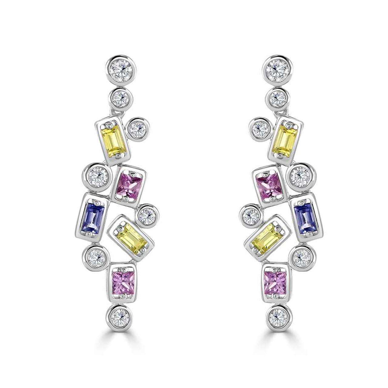 18ct White Gold Diamond & Sapphire Confetti Drop Earrings