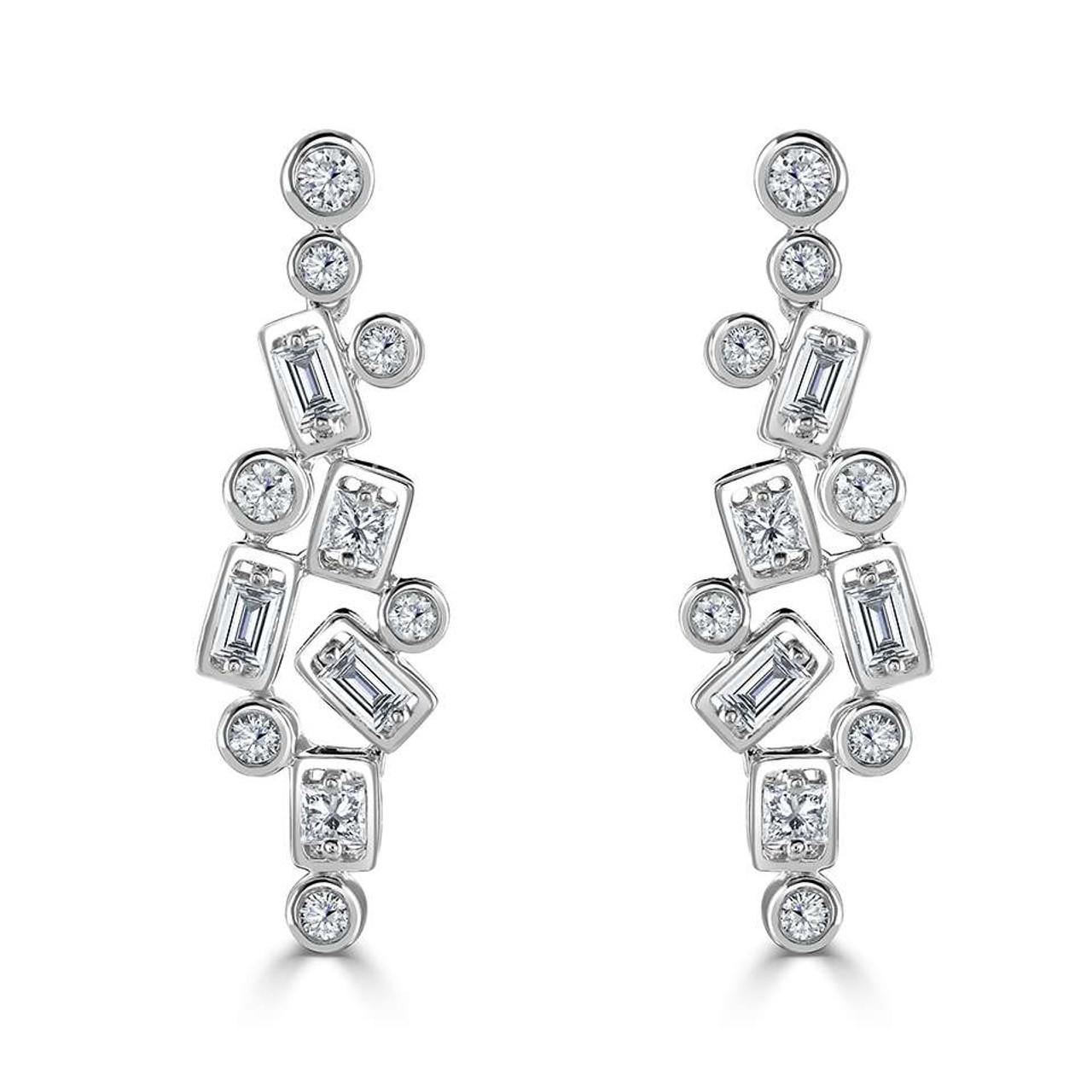 18ct White Gold Diamond Confetti Drop Earrings