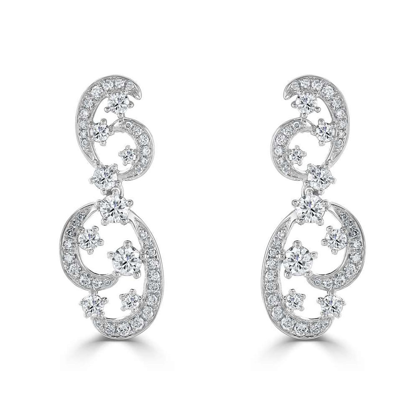 18ct White Gold Diamond Swirl Drop Earrings