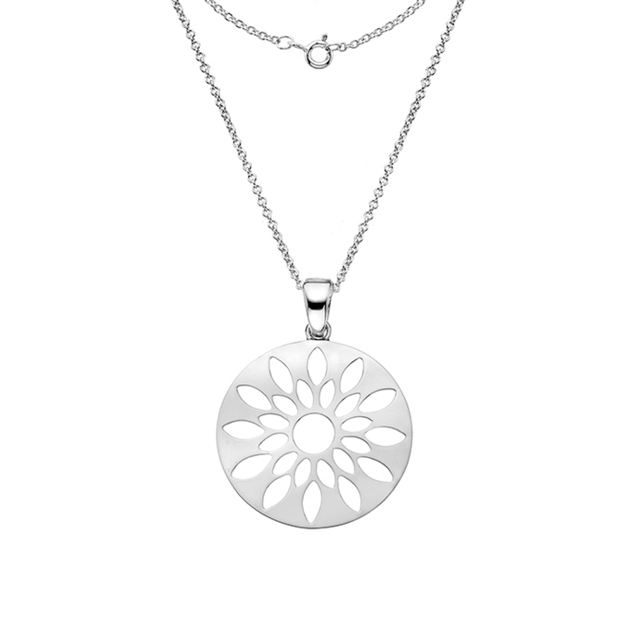 Silver flower burst Pendant on Chain