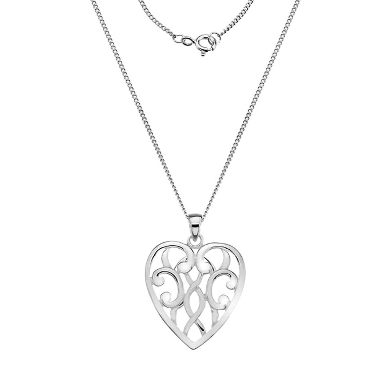 Silver Heart shaped filigree Pendant on Chain.