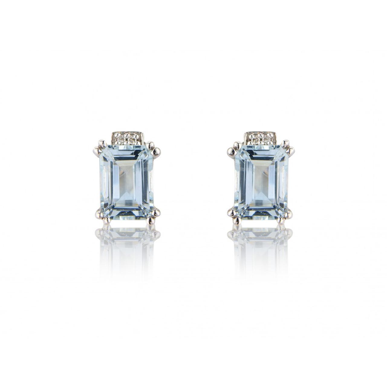 9ct White Gold Diamond & Aquamarine Stud Earrings