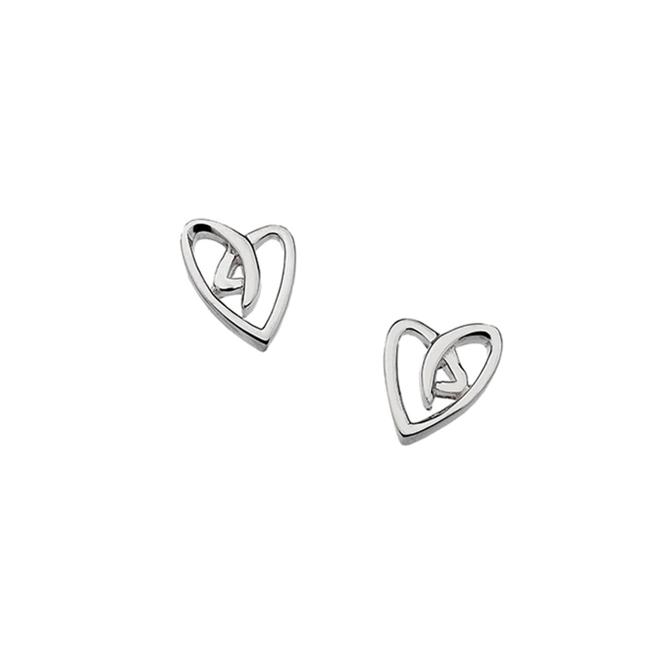 Silver stylised Heart shaped Stud Earrings