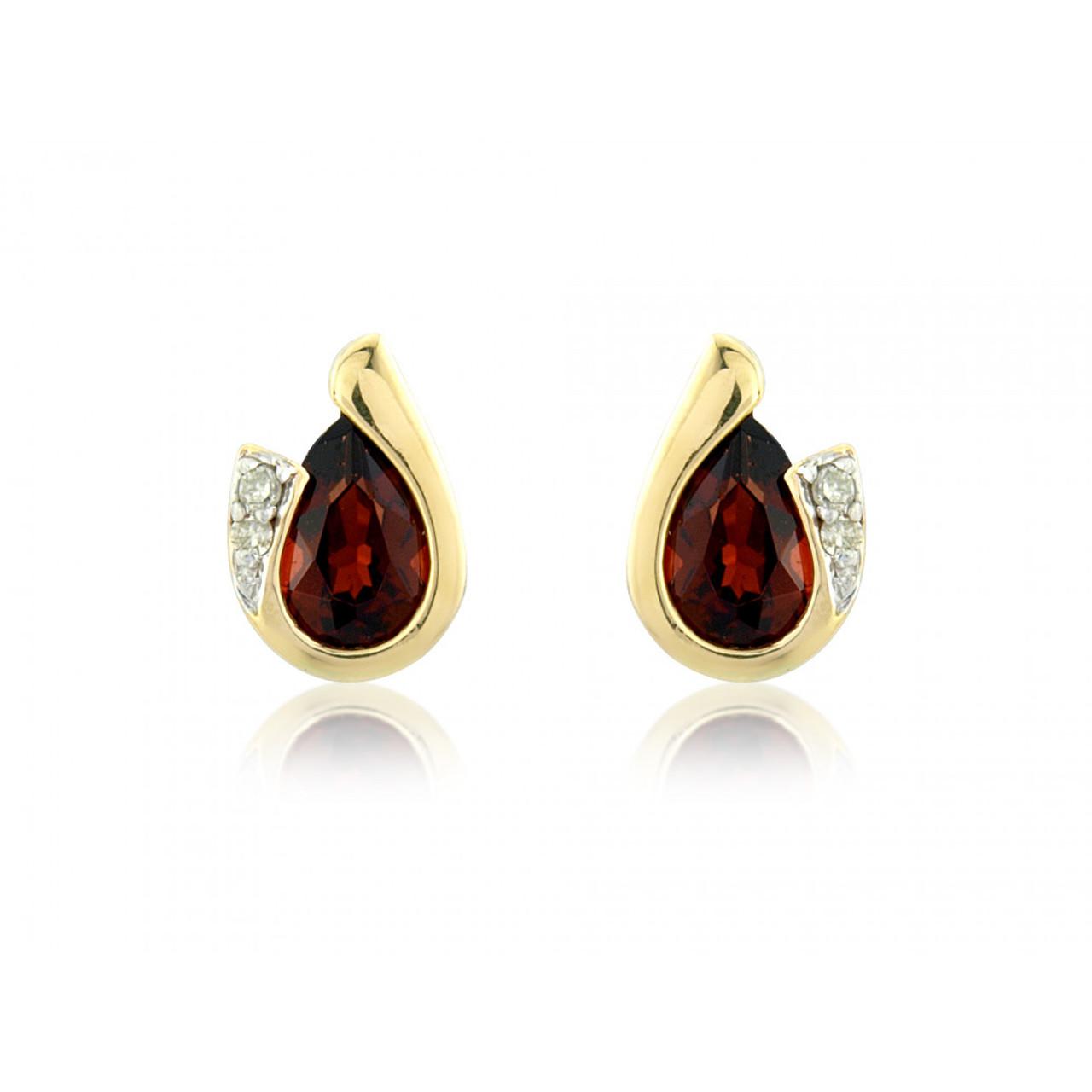 9ct Yellow Gold Garnet & Diamond Curl Earrings