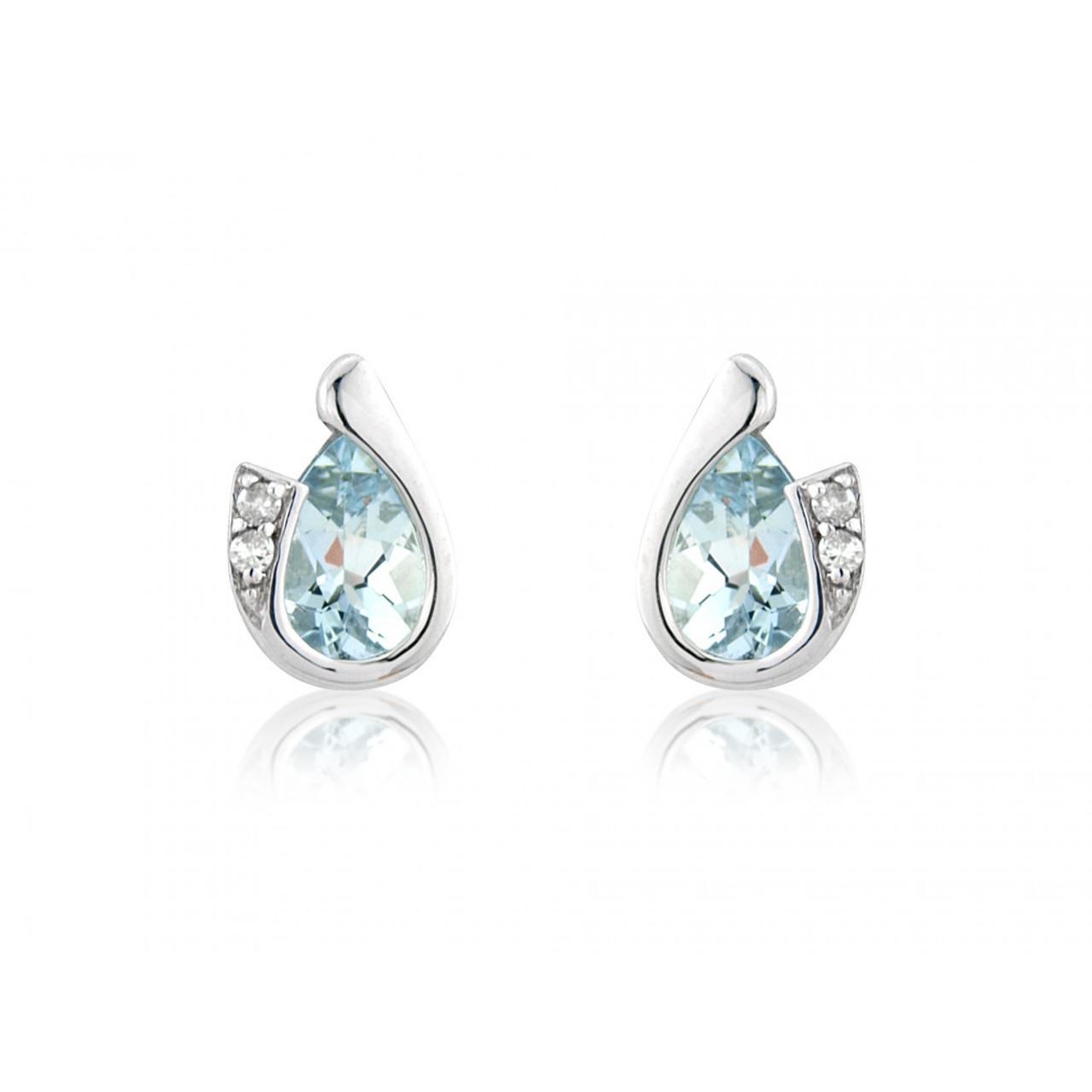 9ct White Gold Aquamarine & Diamond Curl Earrings