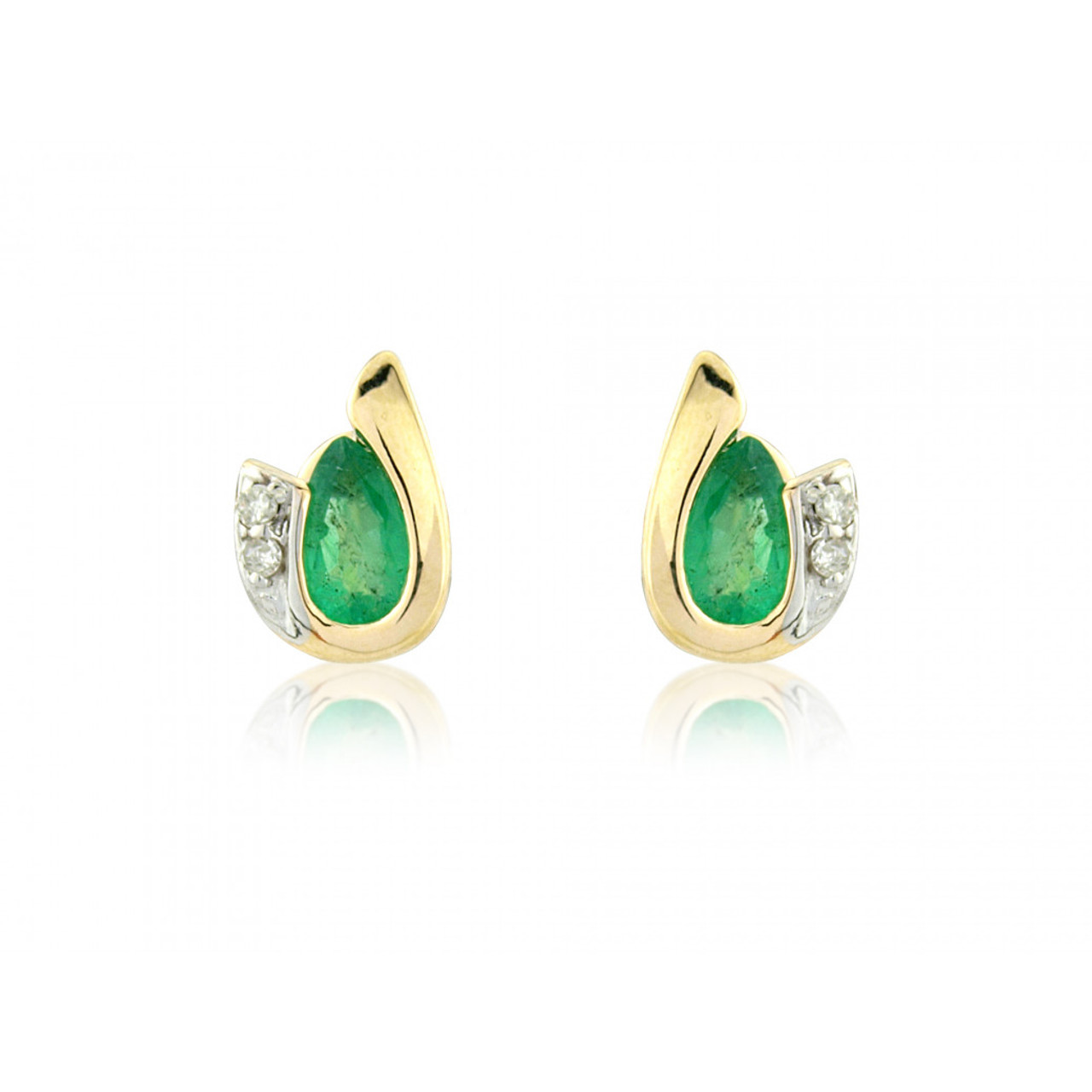 9ct Yellow Gold Emerald & Diamond Curl Earrings