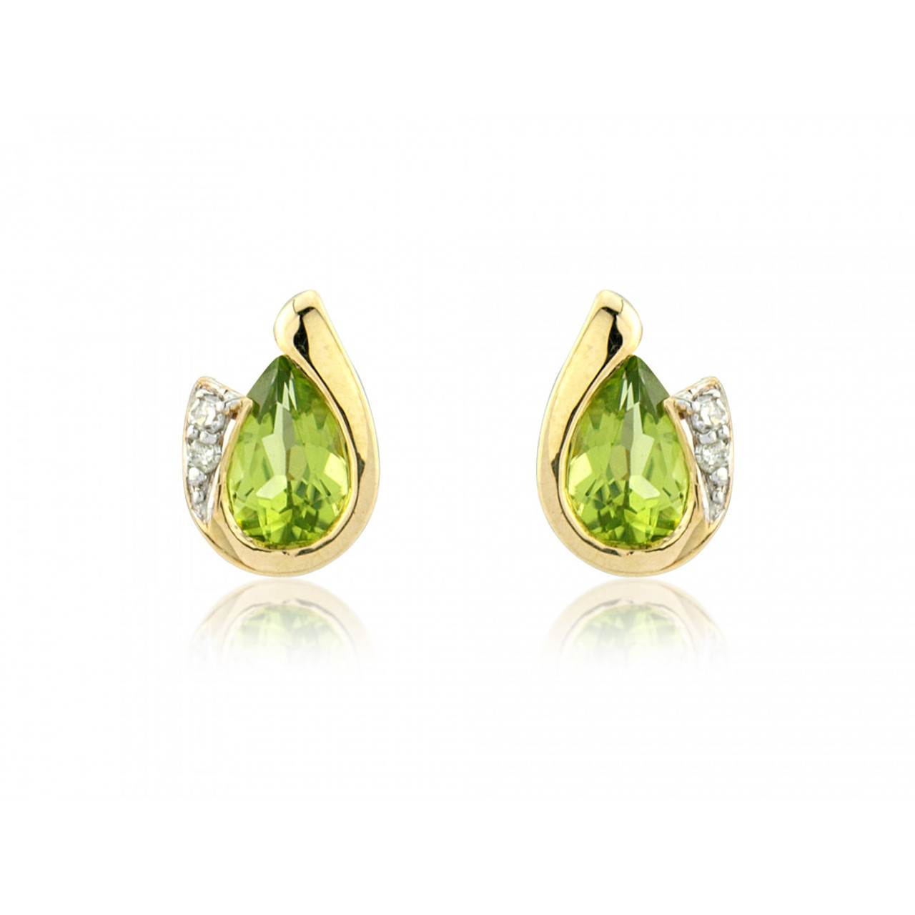 9ct Yellow Gold Peridot & Diamond Curl Earrings