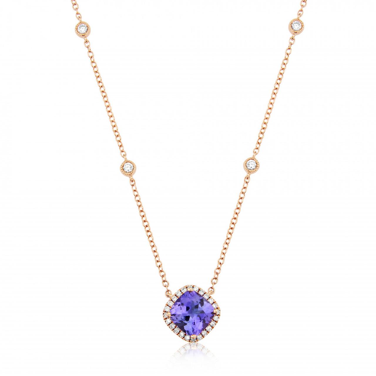 9ct Rose Gold Diamond & Tanzanite Pendant Necklace