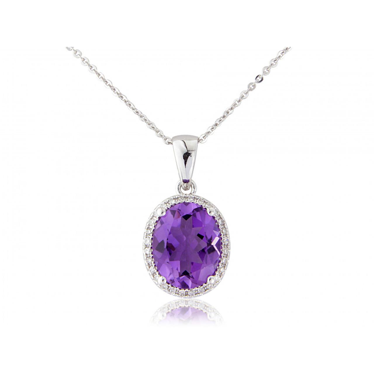 9ct White Gold Amethyst & Diamond Pendant Necklace