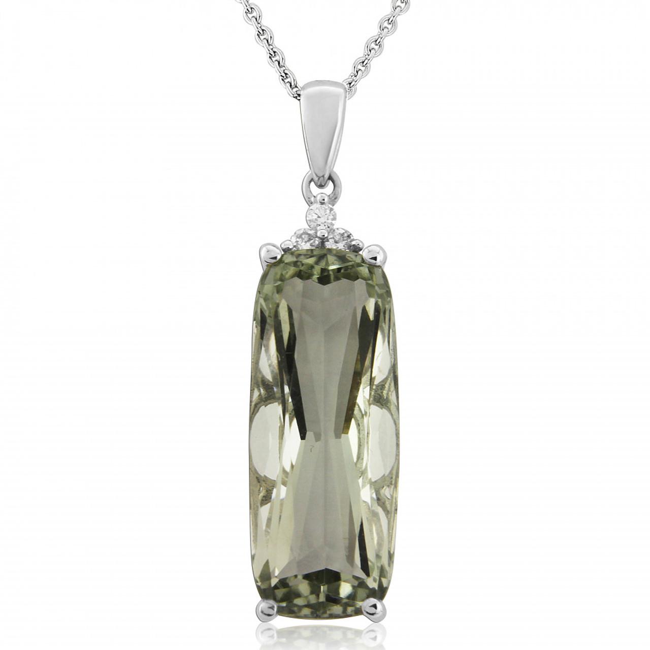 9ct White Gold Diamond & Green Amethyst Pendant Necklace