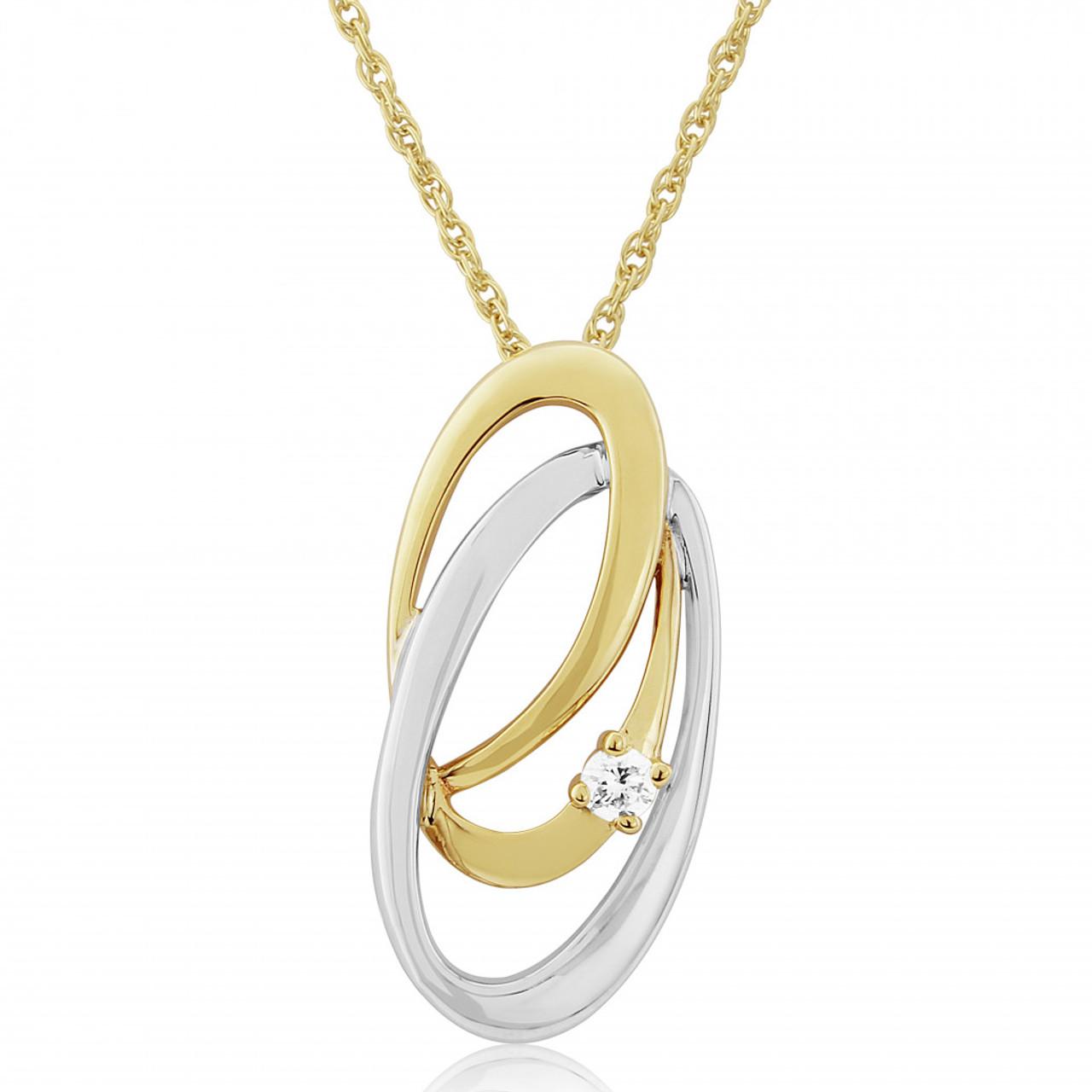 9ct Yellow & White Gold Diamond Cosmos Pendant Necklace
