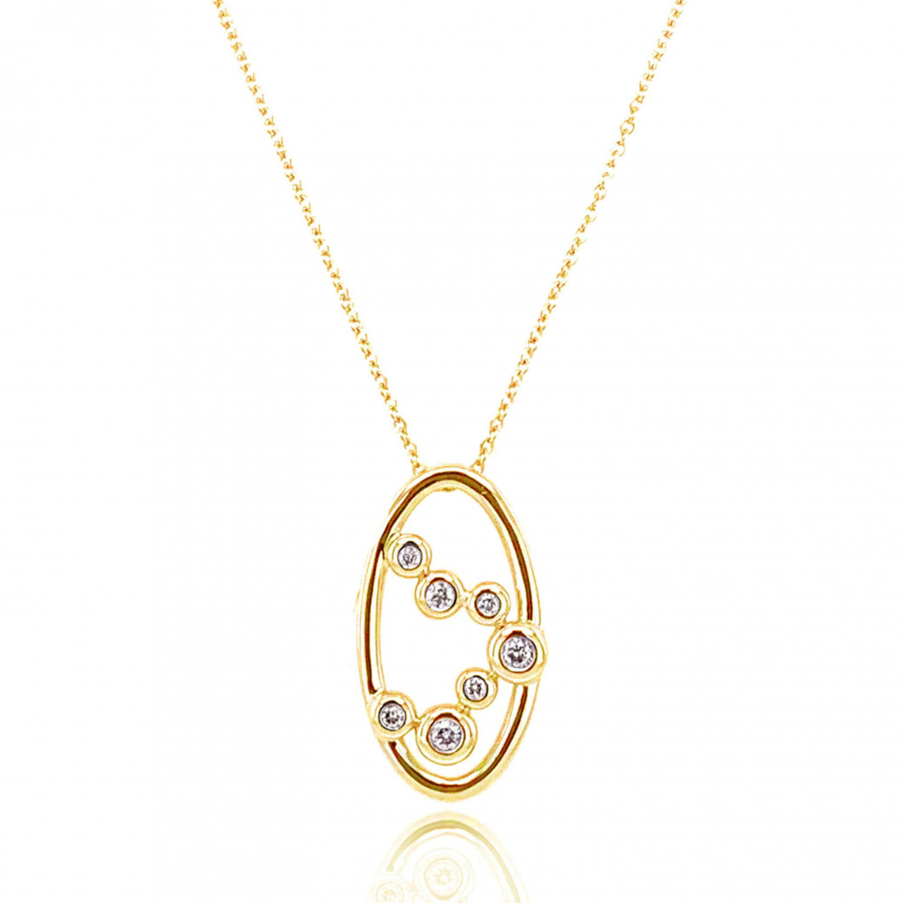 9ct Yellow Gold Diamond Bubble Pendant Necklace