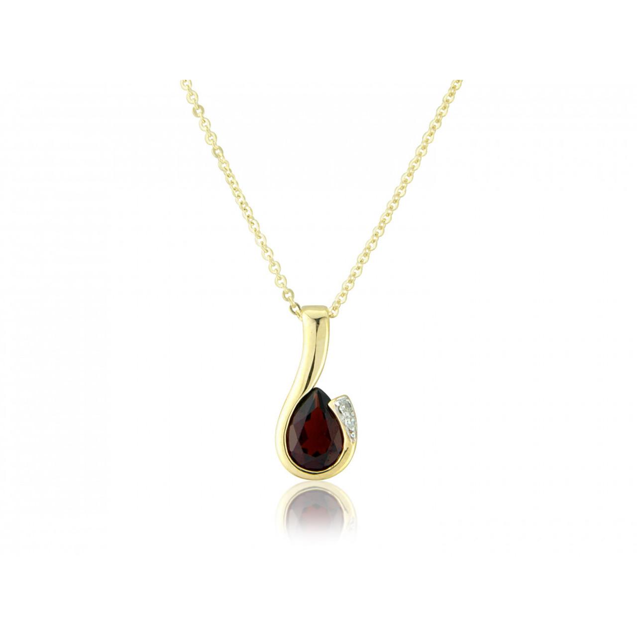 9ct Yellow Gold Garnet & Diamond Curl Pendant Necklace