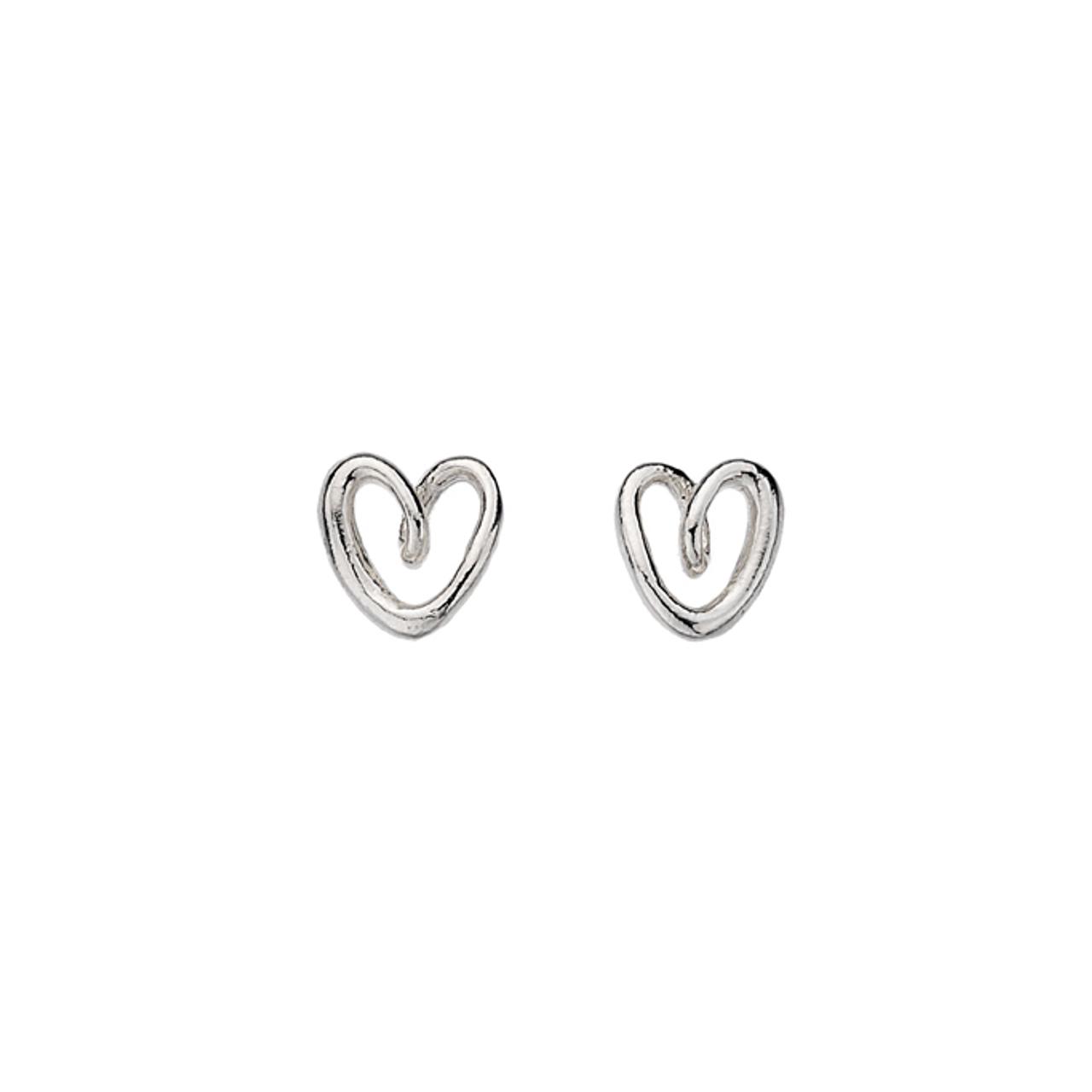 Silver twist Heart shaped Stud Earrings