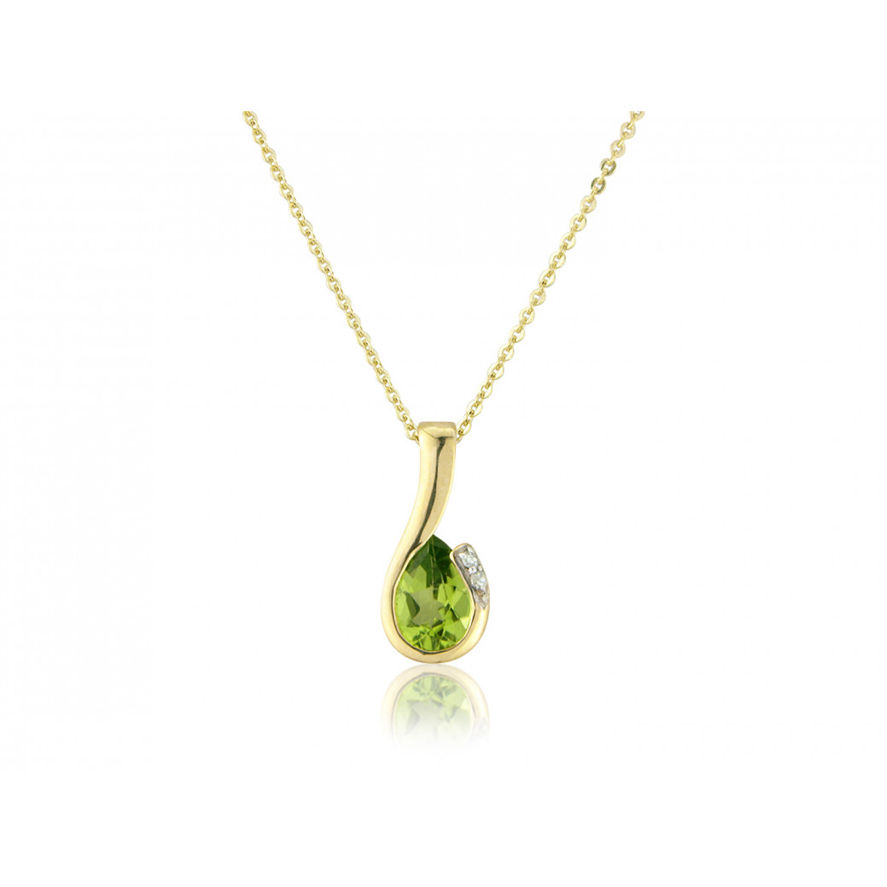 9ct Yellow Gold Peridot & Diamond Curl Pendant Necklace