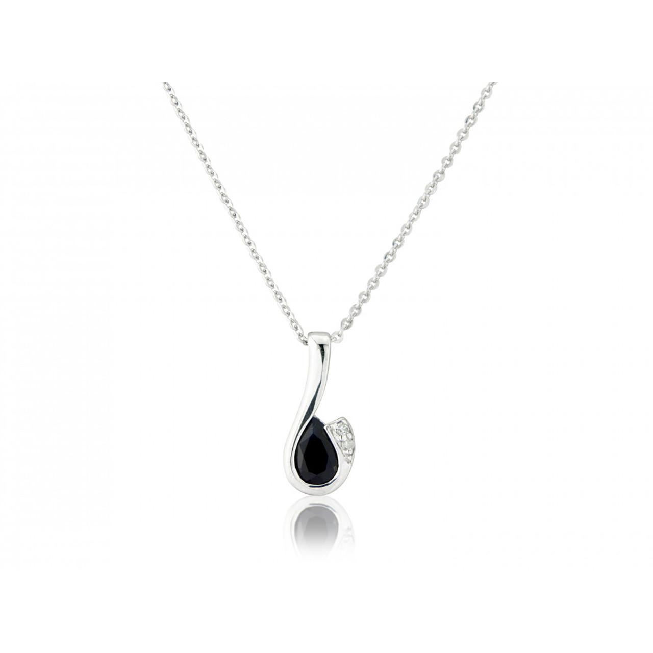 9ct White Gold Sapphire & Diamond Curl Pendant Necklace