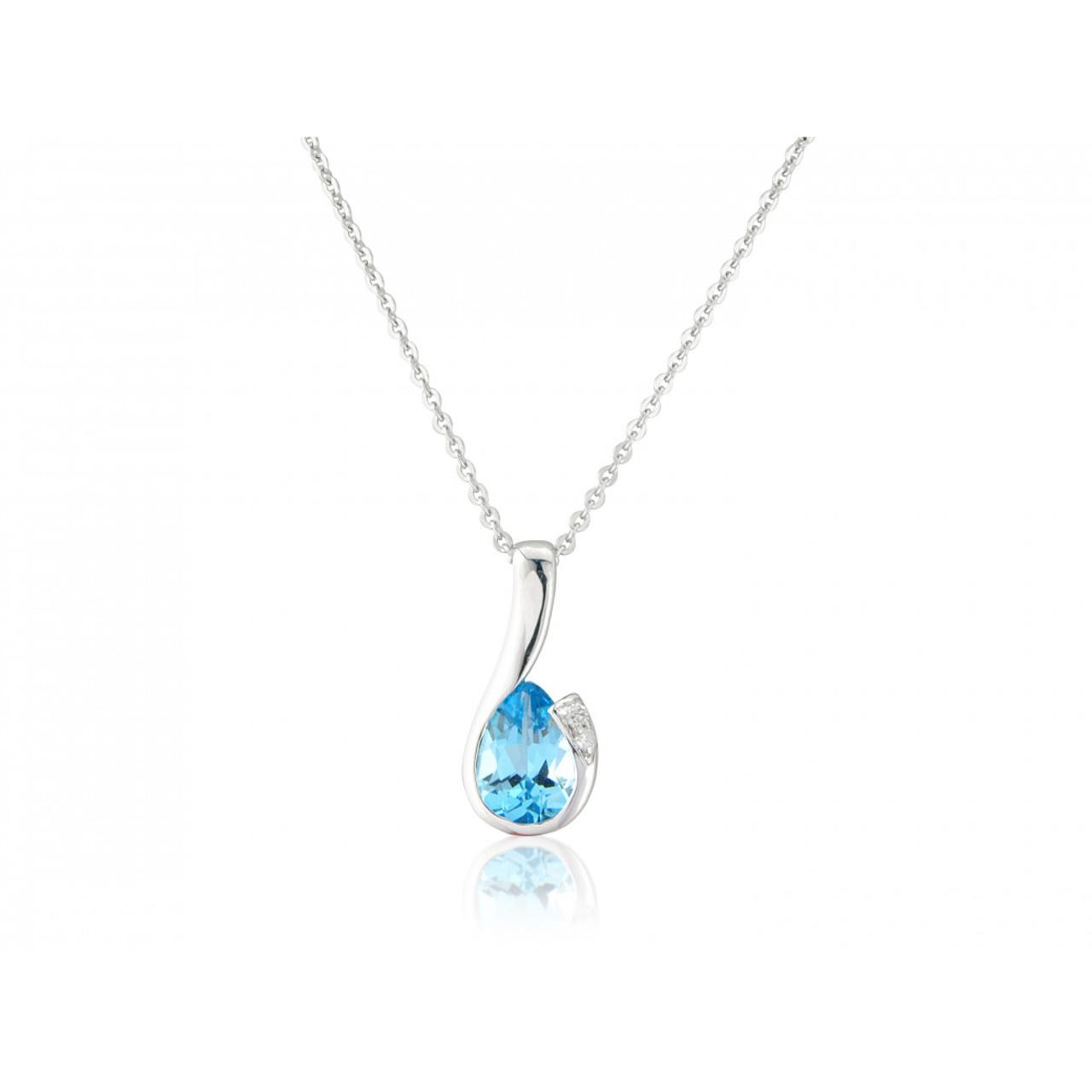 9ct White Gold Blue Topaz & Diamond Curl Pendant Necklace
