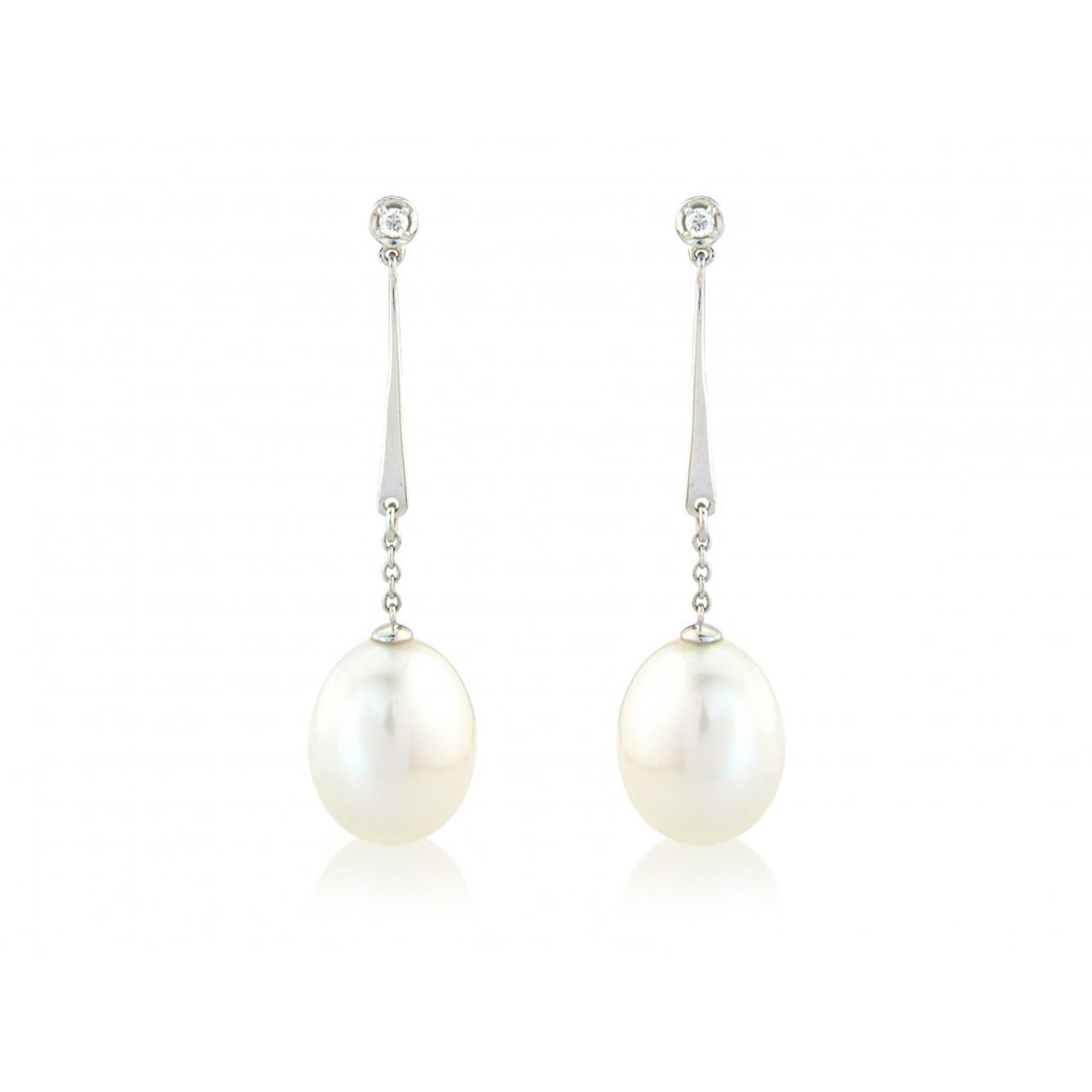 9ct White Gold Diamond & Pearl Drop Earrings