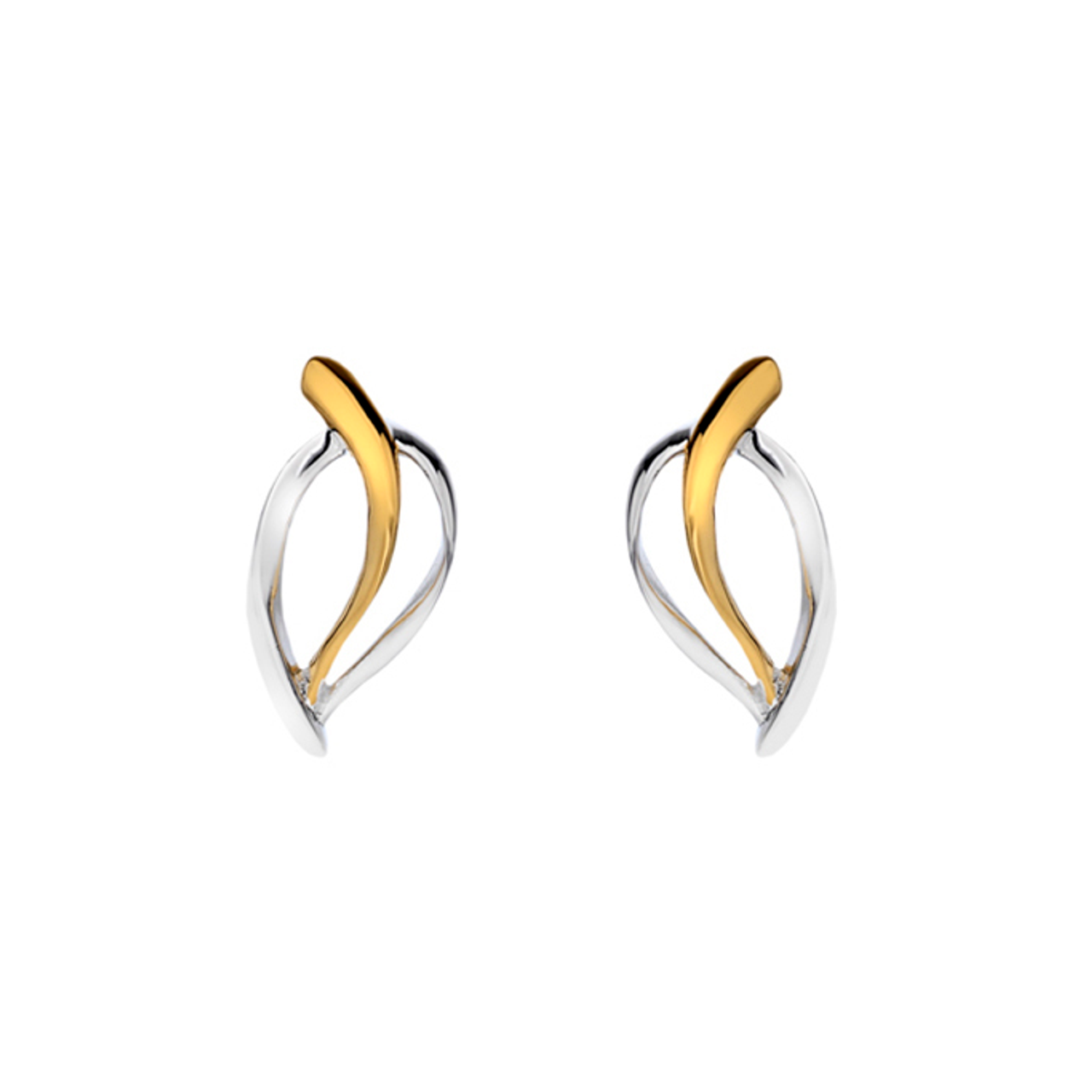 Silver & Gold plated Leaf Stud Earrings