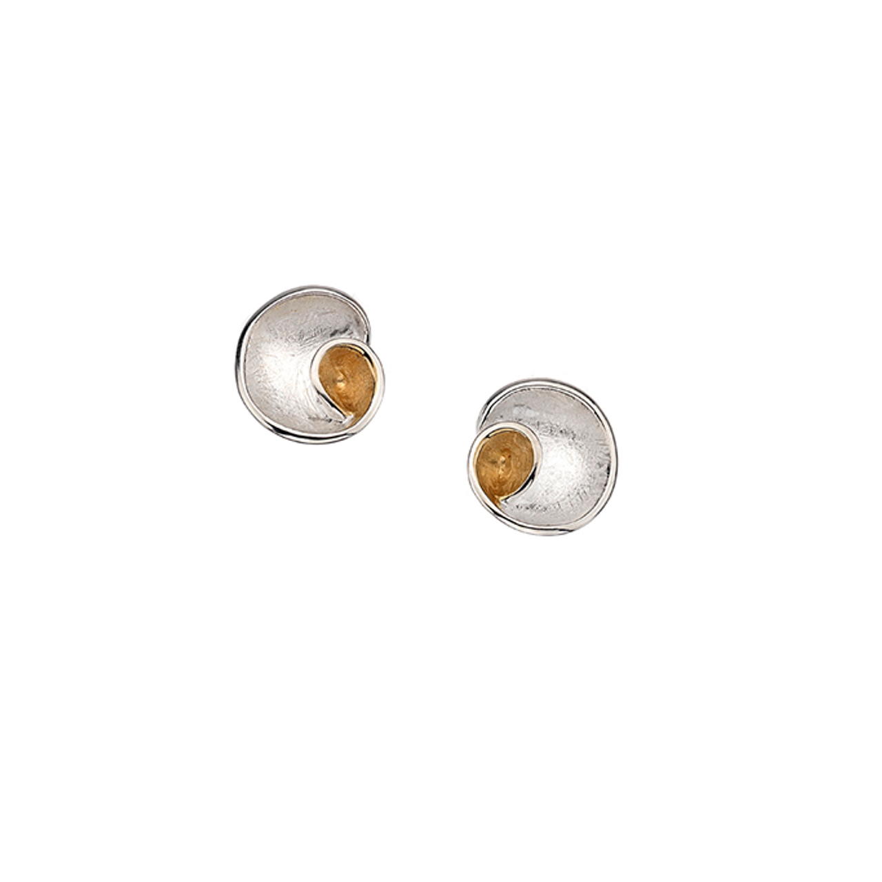 Silver & Gold plated swirl circle Stud Earrings.