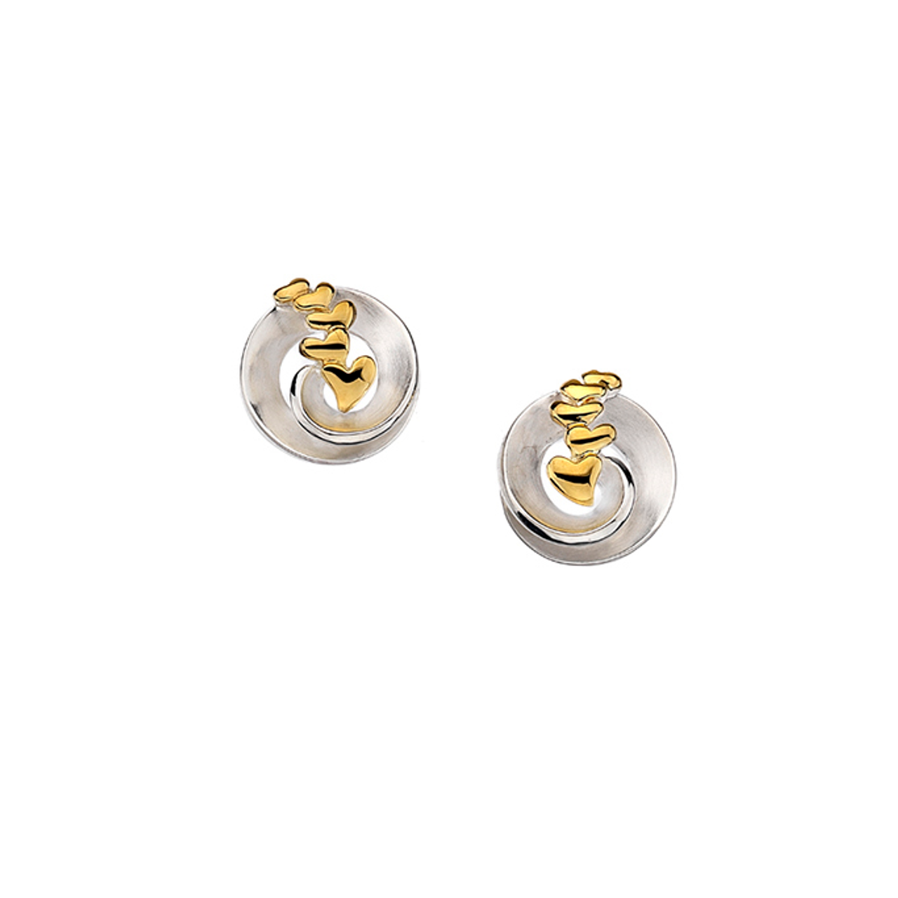 Silver & Gold plated circle & Heart Stud Earrings