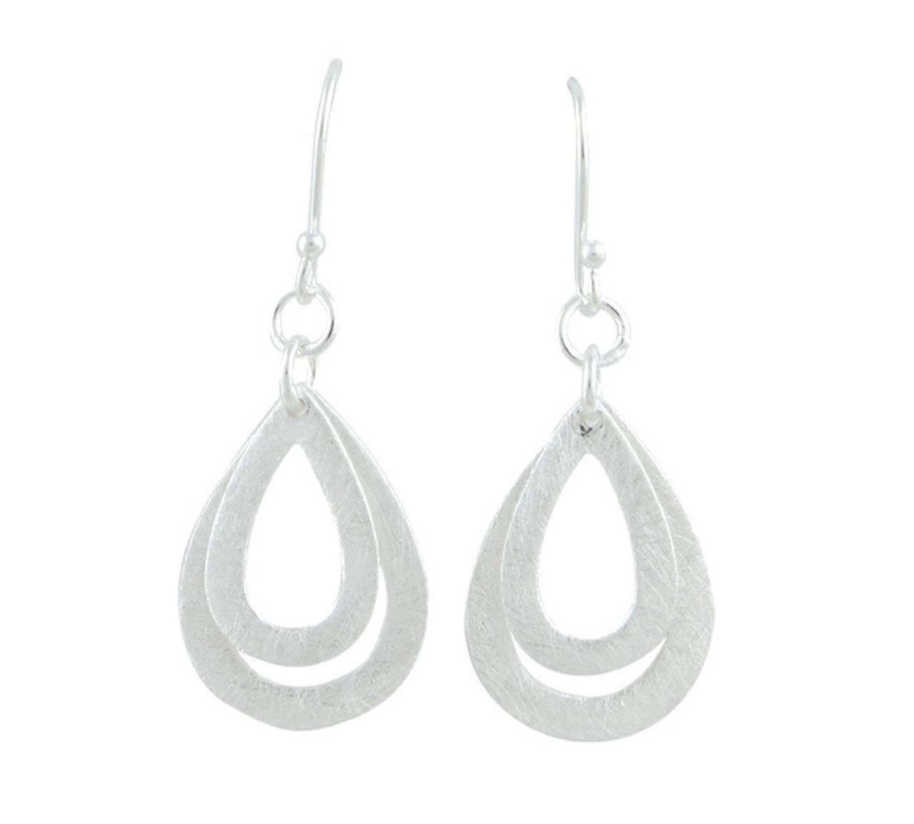Silver pear shaped double Drop Earrings