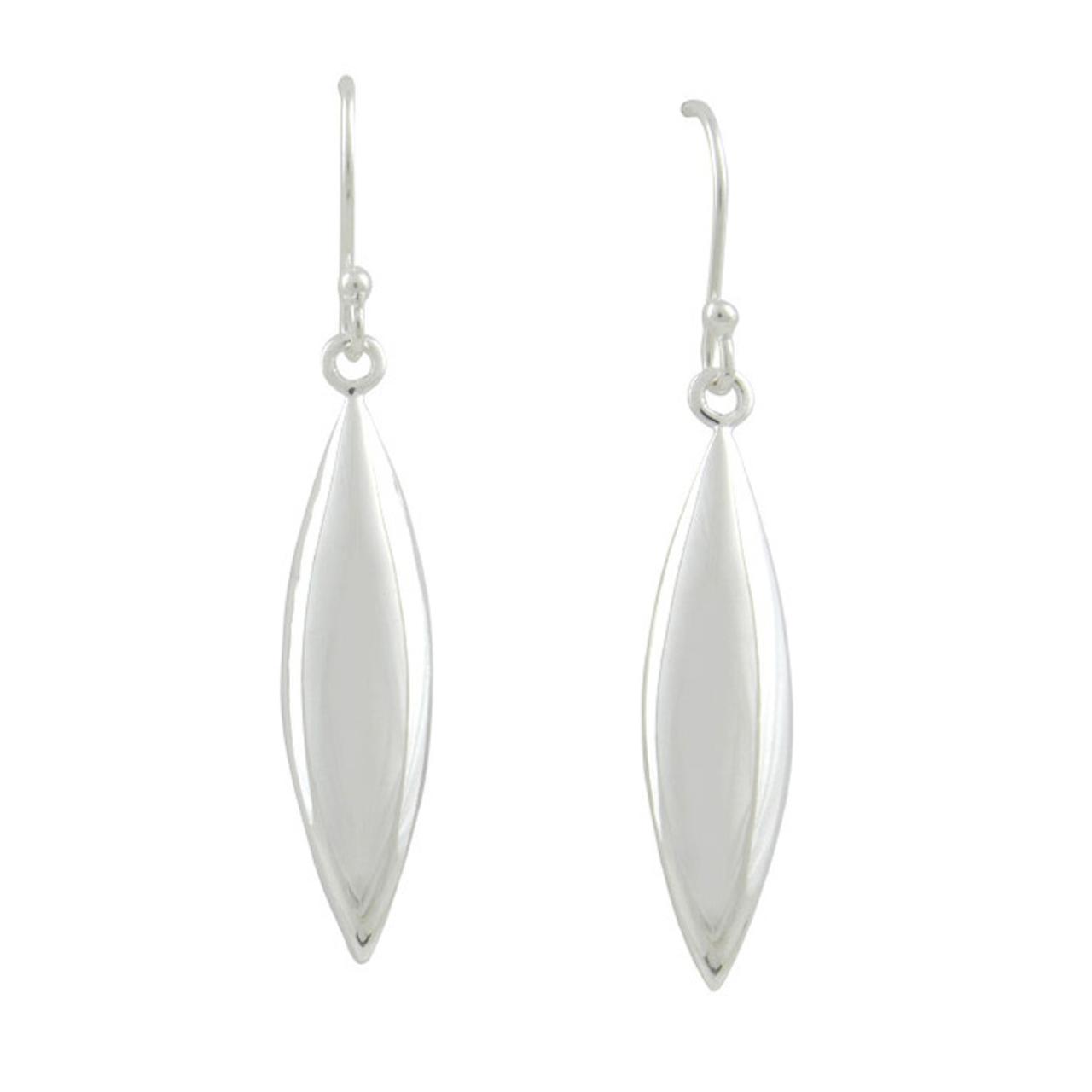 Silver marquise shaped sphere Stud Earrings