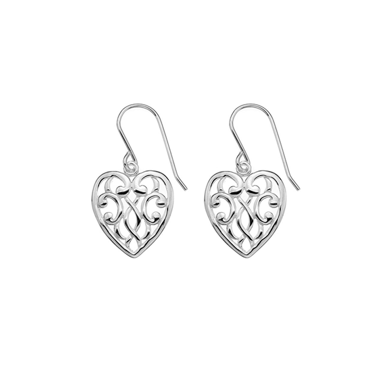 Silver Heart shaped filigree Drop Earrings