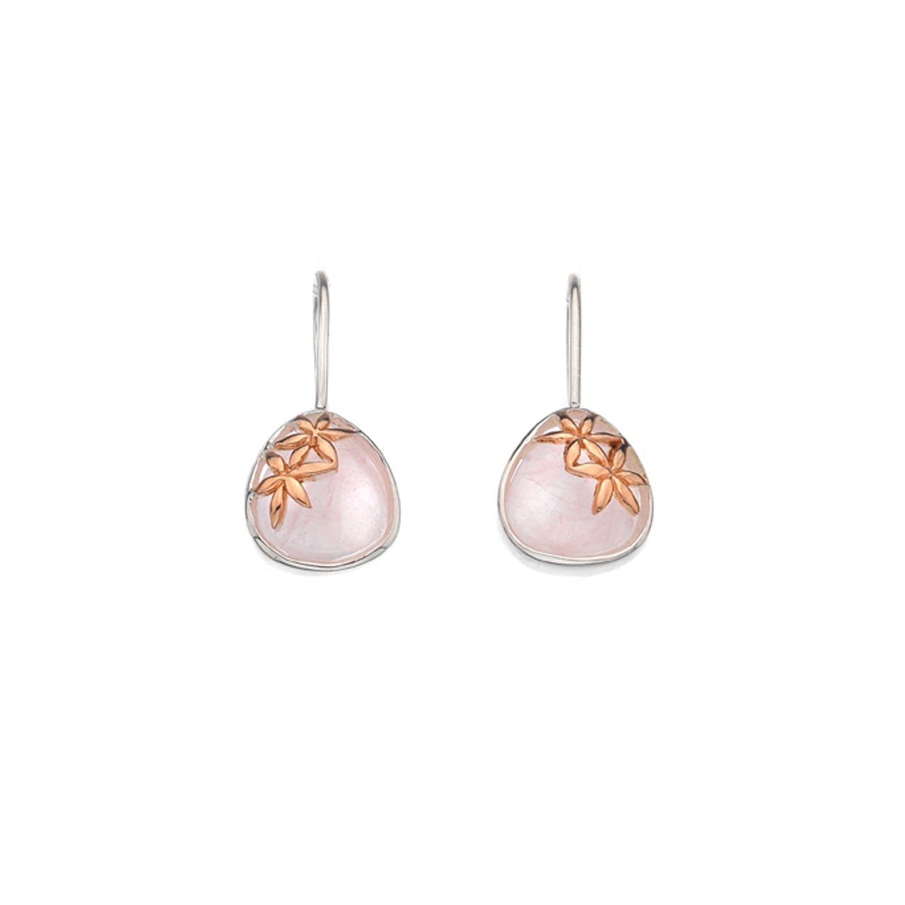 Silver & Rose Gold plated Rose Quartz Drop Earrings
