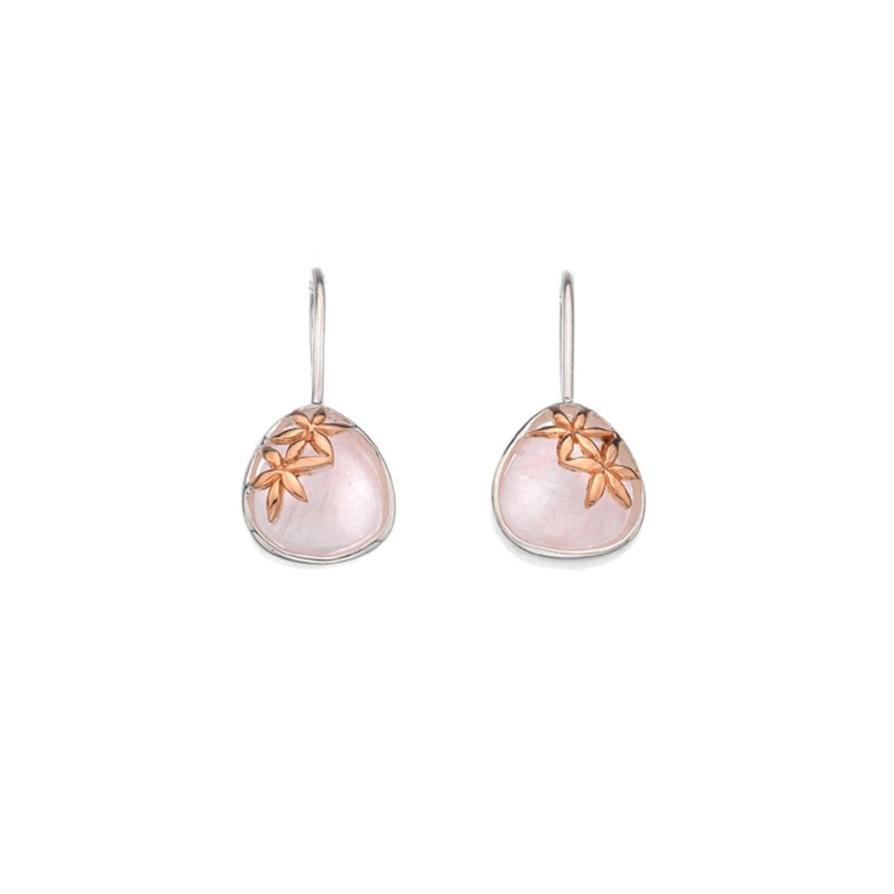 Silver & Rose Gold plated Rose Quartz Drop Earrings