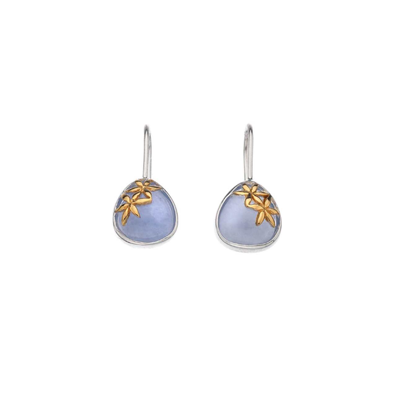 Silver & Gold plated Blue Chalcedony Drop Earrings
