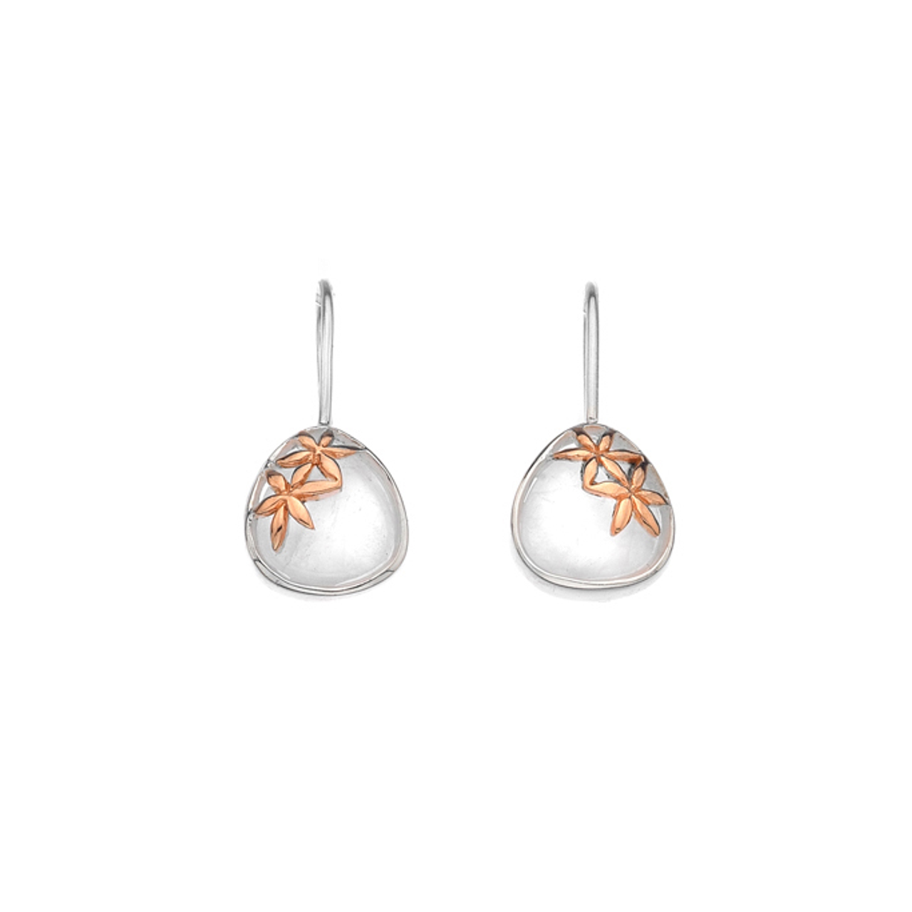 Silver & Rose Gold plated Mother of Pearl Drop Earrings