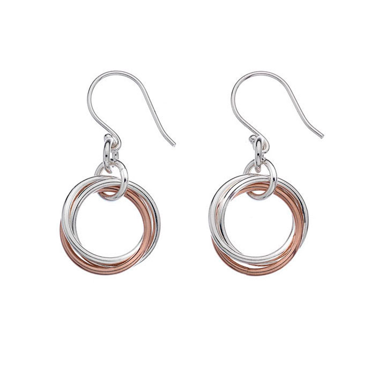 Silver & Rose Gold Russian style Drop Earrings