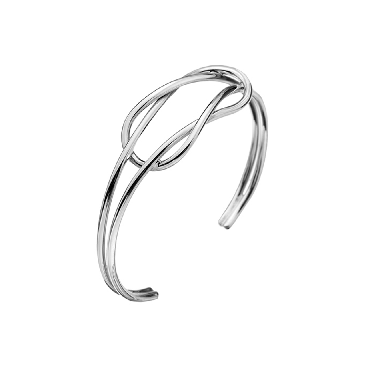 Silver double wire reef knot Torque Bangle