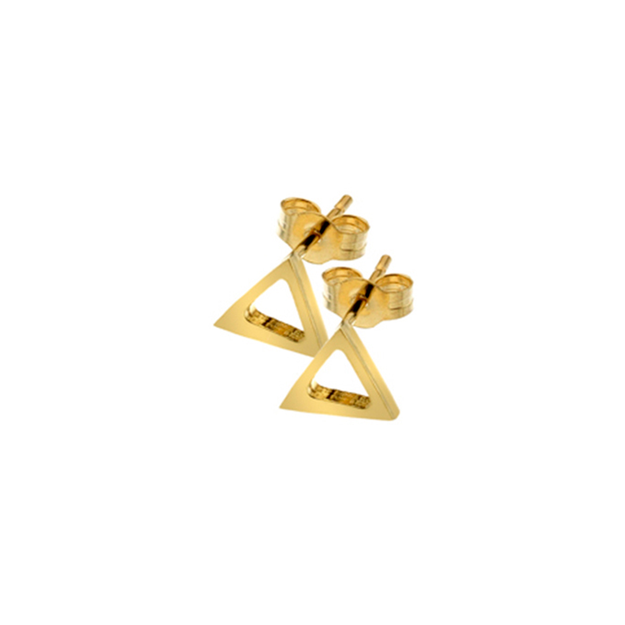 9ct Yellow Gold open triangle Stud Earrings