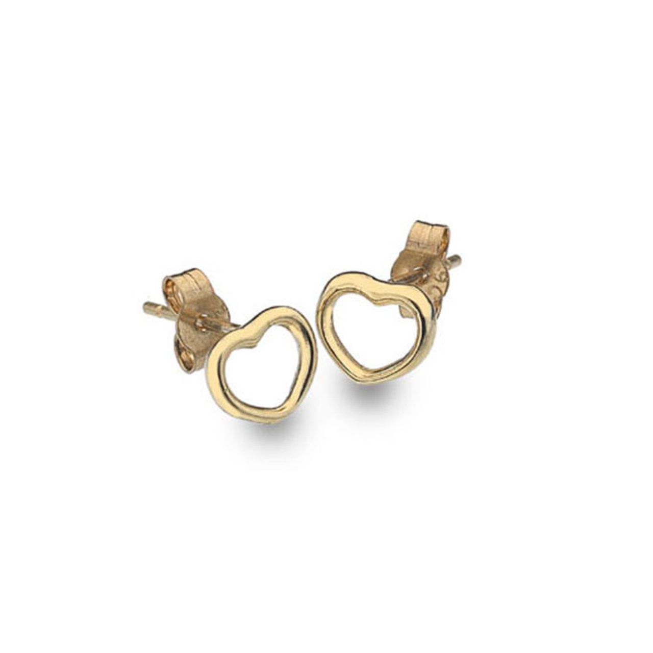 9ct Yellow Gold rounded Heart Stud Earrings
