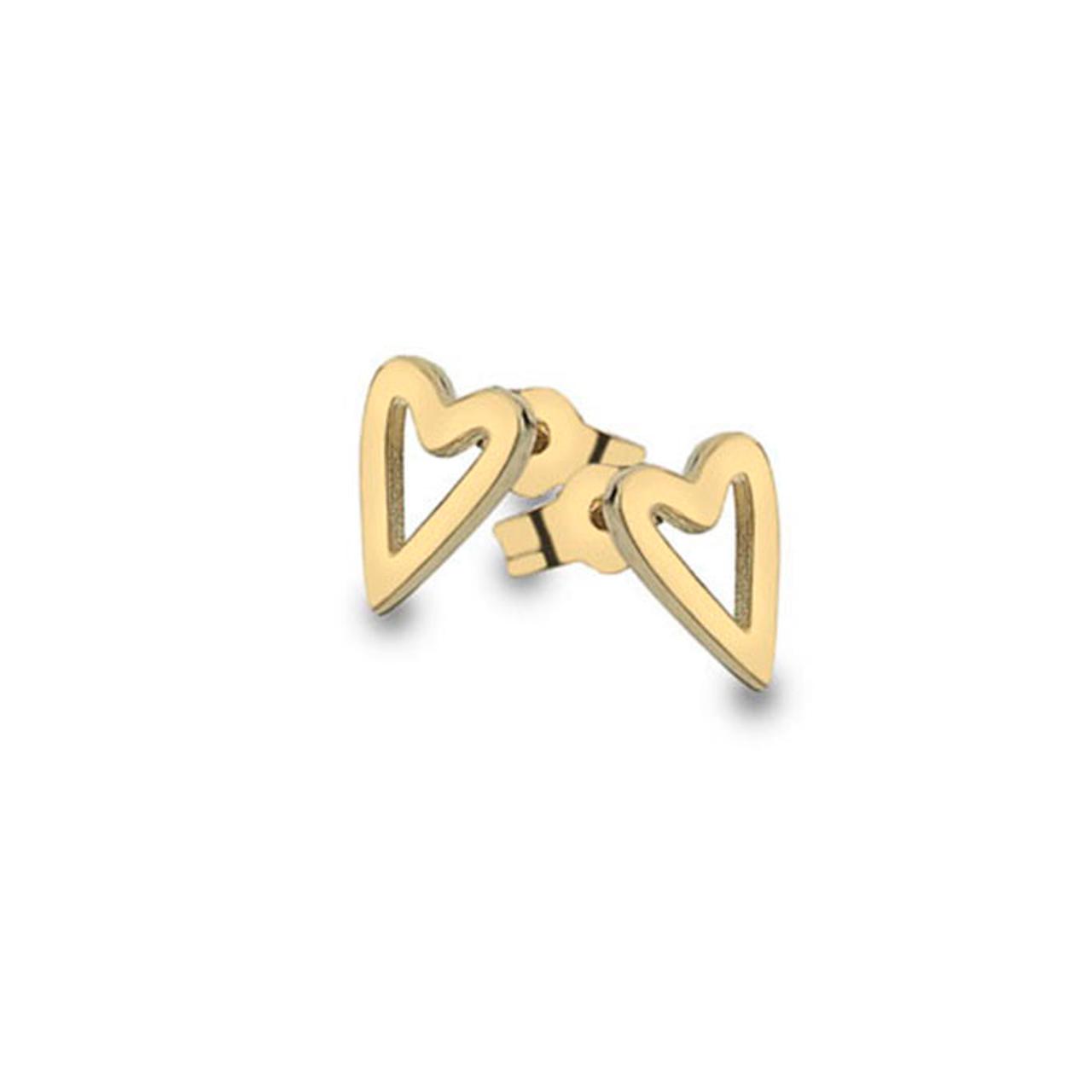 9ct Yellow Gold long Heart Stud Earrings