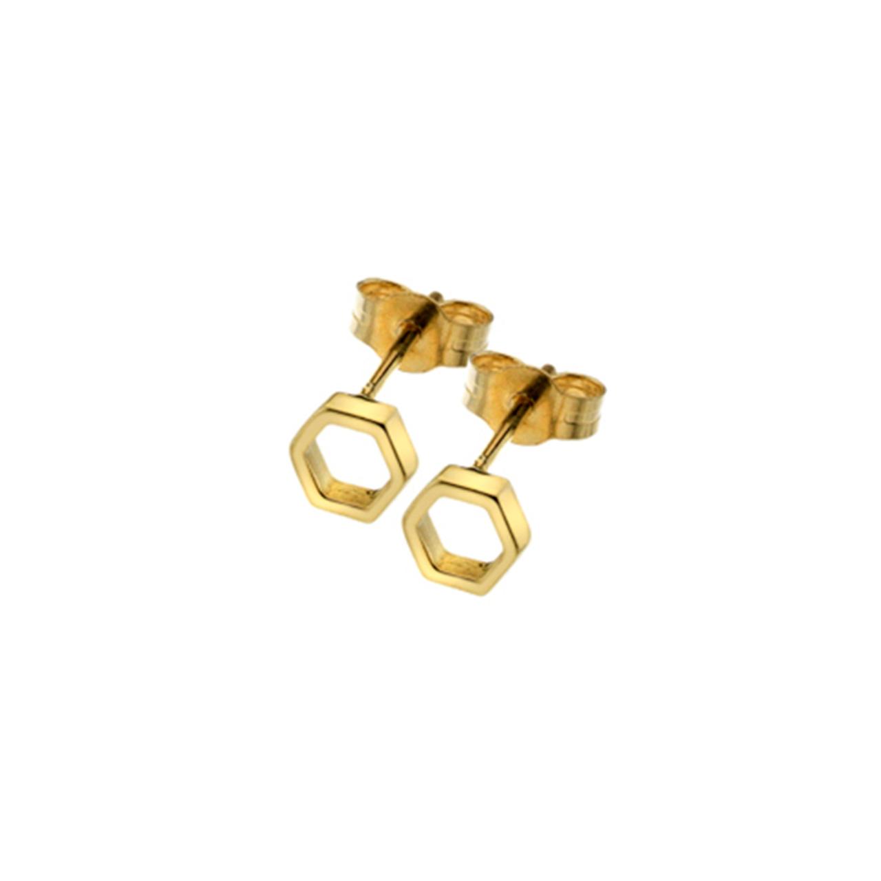 9ct Yellow Gold open hexagonal Stud Earrings