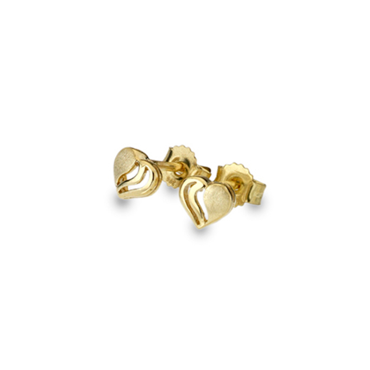 9ct Yellow Gold detailed Heart Stud Earrings