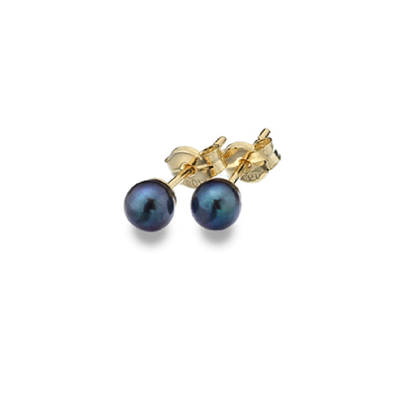 853fc13ba 9ct Yellow Gold 4mm Black Freshwater Cultured Pearl Stud Earrings ...
