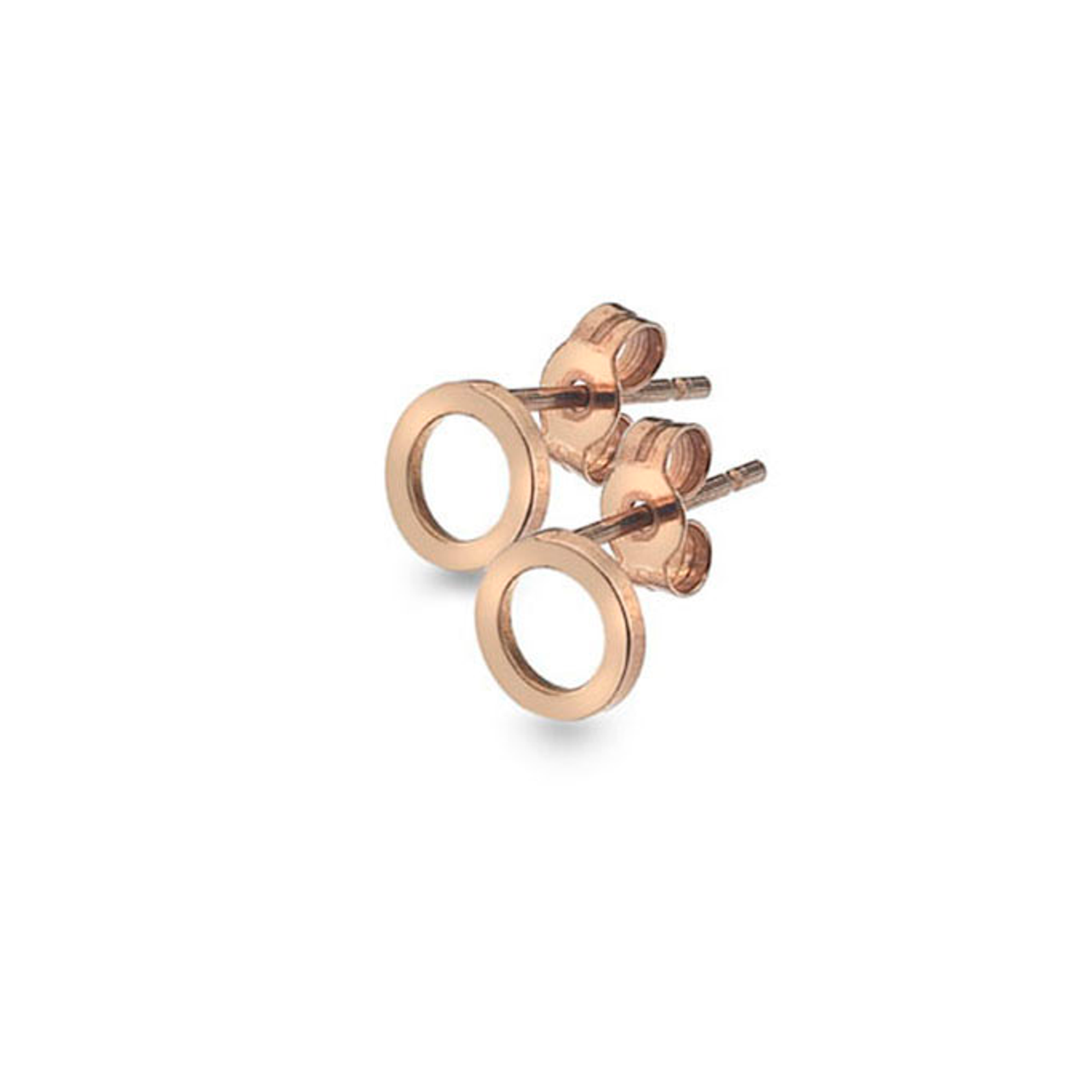 9ct Rose Gold open circle Stud Earrings